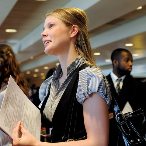 A student waits in line during a career day held at the Kent Student Center.