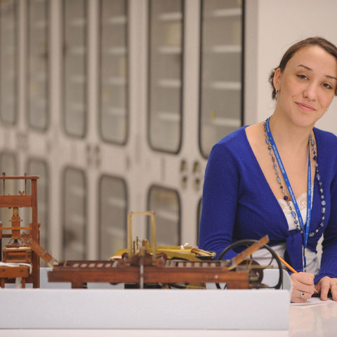 A history student from Kent State works at her internship at the American History Museum in Washington, D.C. as a part of the Washington Program in National Issues.