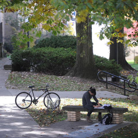 A student studies outside of Kent Hall.