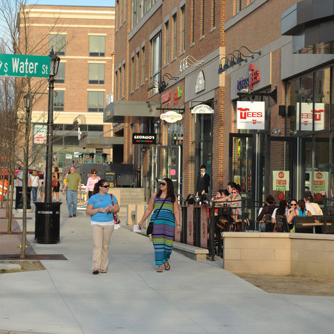 Students wander through the new section of downtown Kent. New stores, restaurants and shops have made Kent a national story in downtown revitalization.