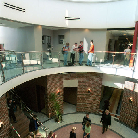 Students walk through the science building at the Tuscarawas Campus