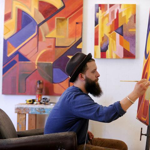 Student creating art