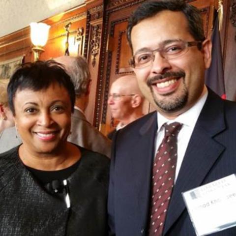 SLIS Professor Emad Khazraee with Librarian of Congress Carla Hayden