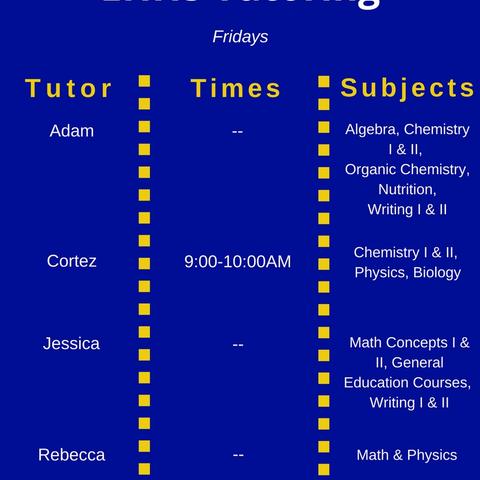 Friday Tutoring Schedule