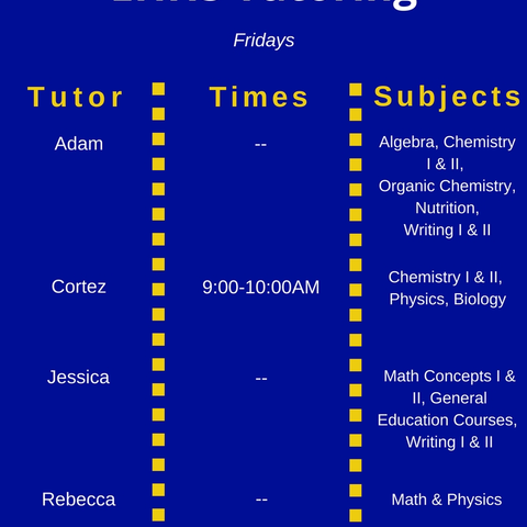 Friday Tutoring Schedule