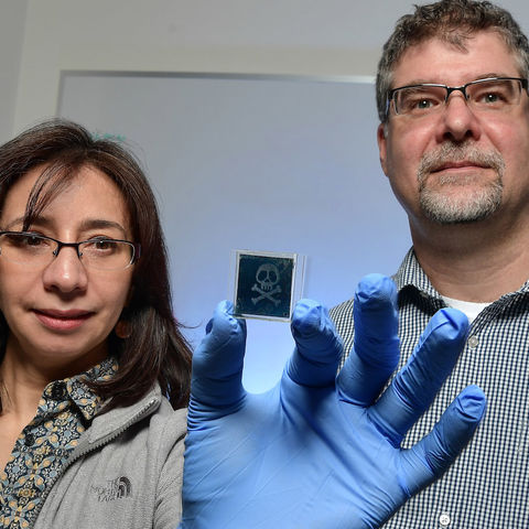 Drs. Elda (left) and Torsten (right) Hegmann show off a liquid crystal nanoparticle sensor they're designing with Merck Materials