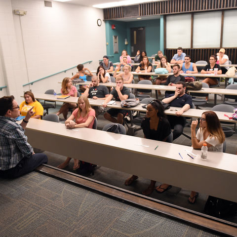 Students listen to a lecture.