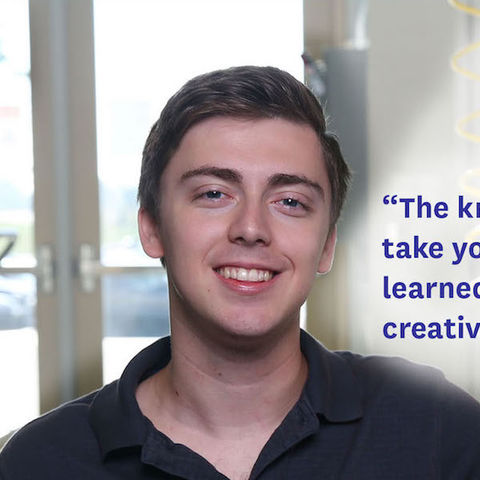 """""""What can be learned during research is limited only by creativity and a desire to learn."""" -Kyle Angermeier, Senior, Applied Engineering"""