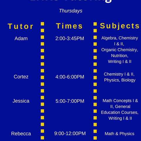 Thursday Tutoring Schedule