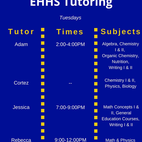 Tuesday Tutoring Schedule