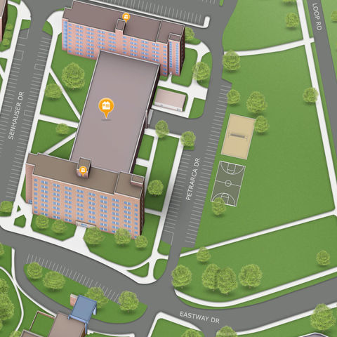 A birds eye view of the Twin Towers as seen on the Kent Map