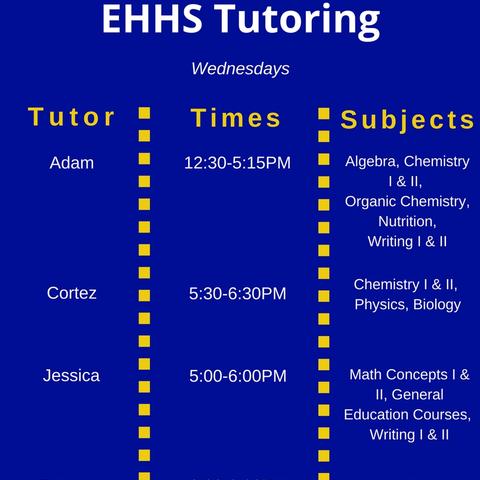 Wednesday Tutoring Schedule