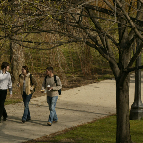 A group of students talk with each other as they walk past the Art Building on a fall day