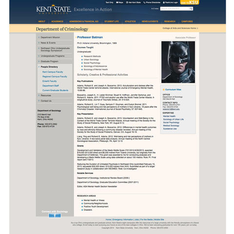 An example of a current Kent State profile