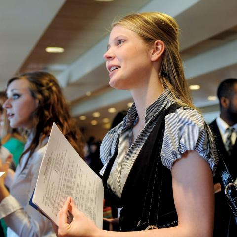 A student takes part in a job fair.