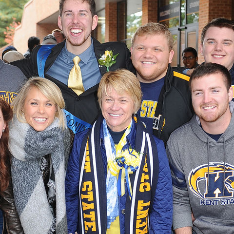 President Warren with Kent State Students