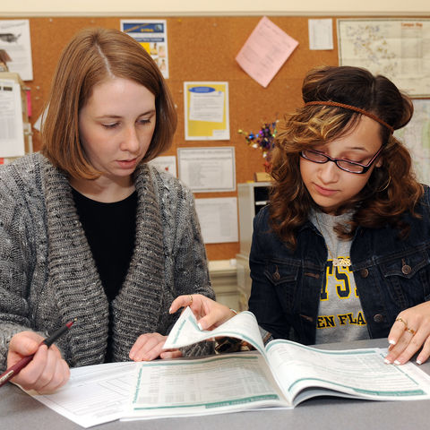 image of two students studying
