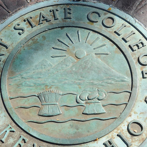 Kent State seal at Prentice Memorial Gate