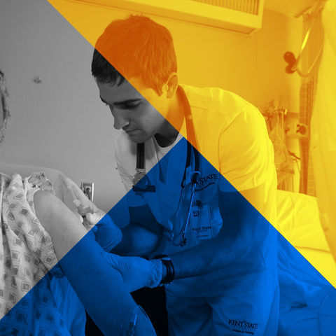 A male nursing student gives a patient an injection during a clinical course rotation