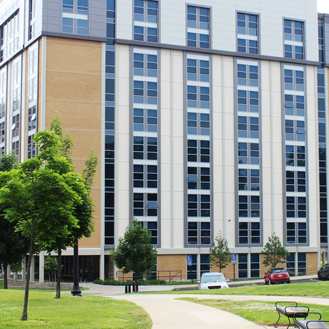 Outdoor view of Wright Hall and surrounding parking lot