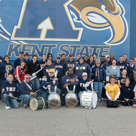 Group photo of Kent State marching band alumni