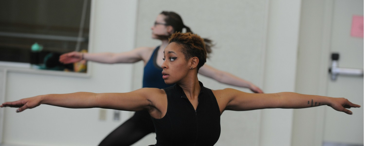 A dance student trains in one of the school's several dance studios.