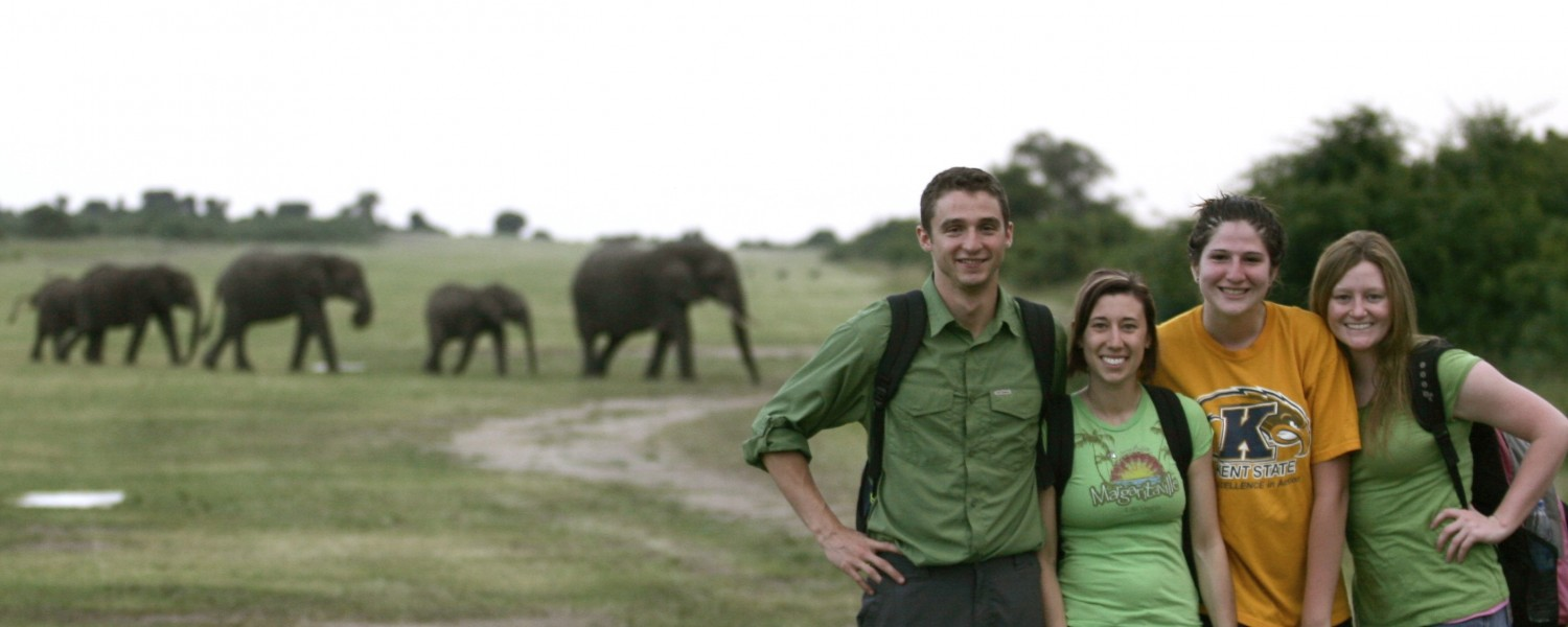 Studying abroad in Uganda standing in front of elephants