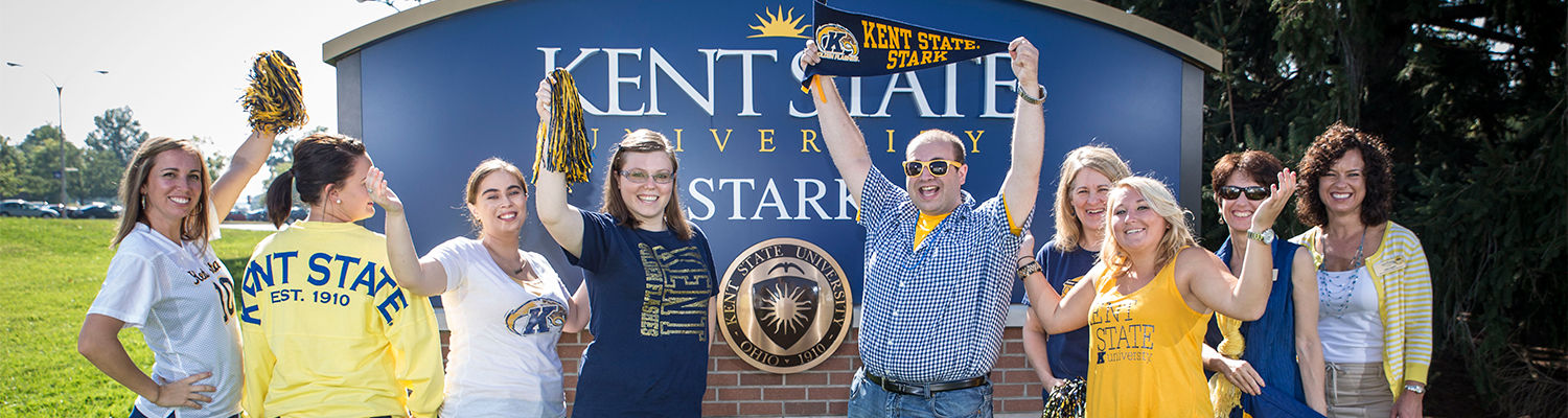 Kent State Stark students, faculty and staff show their Kent State spirit on Blue & Gold Thursdays.
