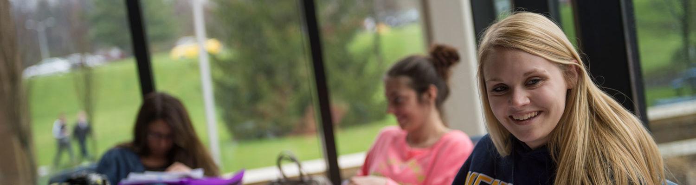 Students study between classes