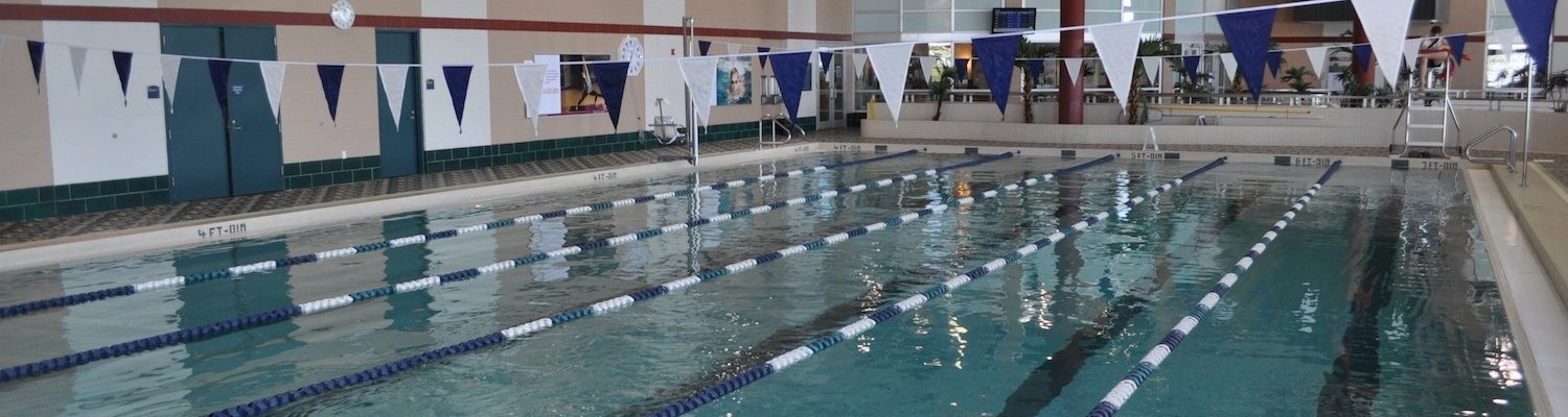 The six-lane lap pool in the state of the art Natatorium in the Kent State Student Recreation and Wellness Center