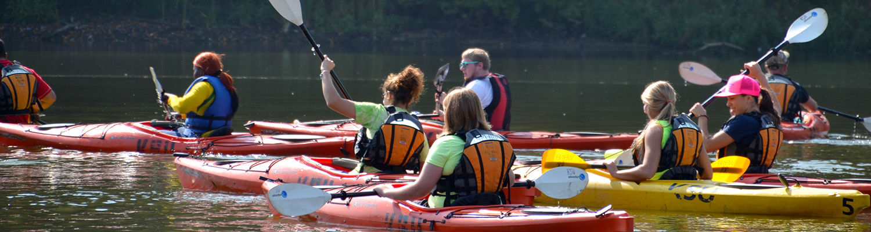 Physical Education students kayaking