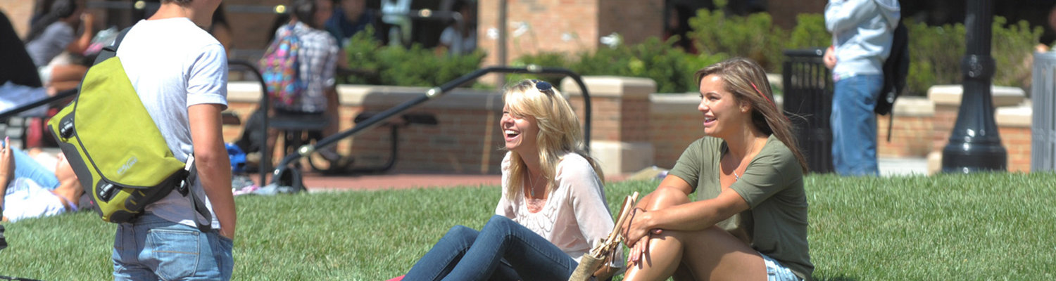 Students sit on the grass in front of the Student Center to have a conversation on a bright summer day.