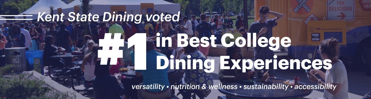 Kent State Dining voted number one in Best College Dining Experiences. Qualities include versatility, nutrition and wellness, sustainability, and accessibility.
