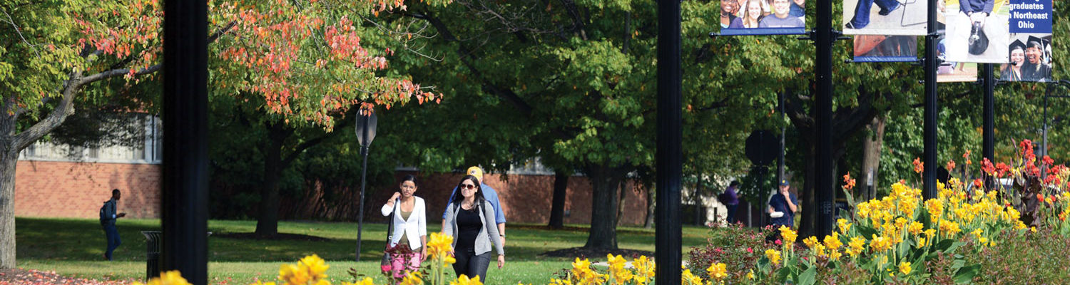 Students walk past beautiful flowers on a sunny day.