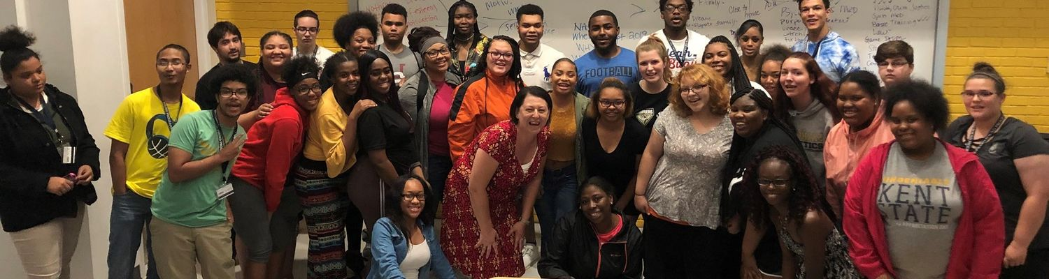 Upward Bound students group photo in classroom.