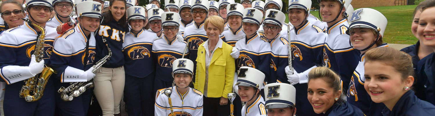 President Beverly Warren with the Kent State Marching Golden Flashes