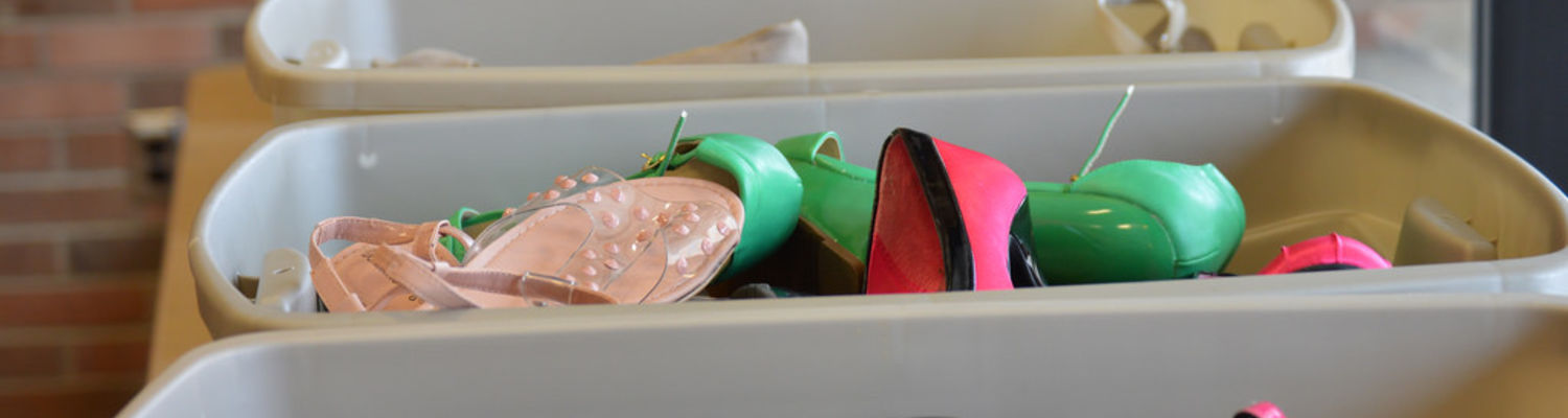 Shoes and Heels collected in bins for the Walk a Mile event