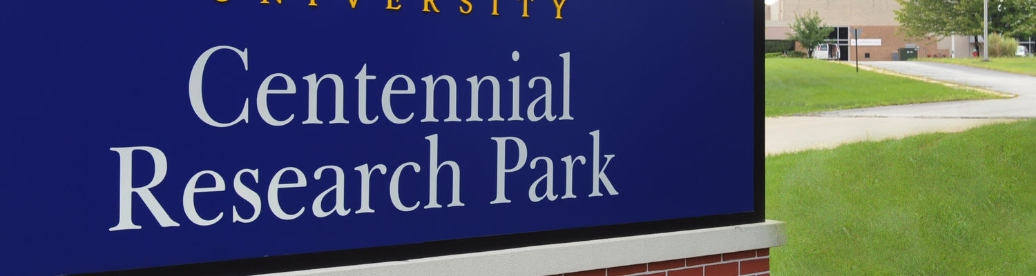 A Centennial Research Park sign faces Route 59 in Kent. The Centennial Research Park houses companies who market technologies developed at Kent State University.