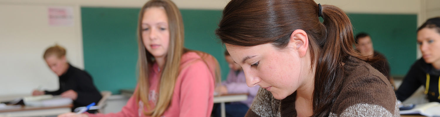 Students at the Stark campus work on math problems in class.