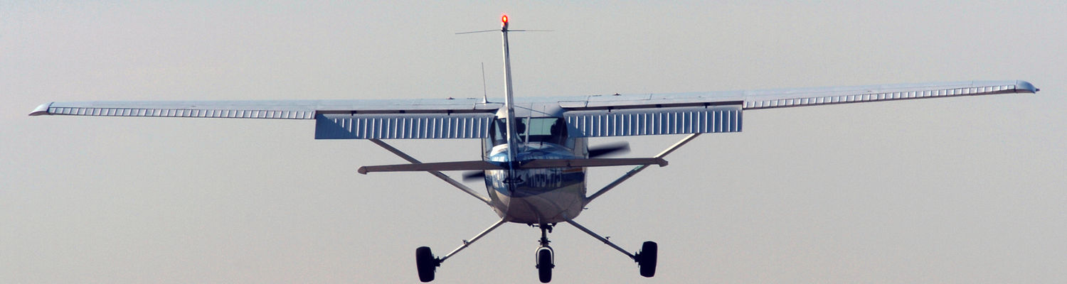 A student practices landings at the Kent State University Airport.