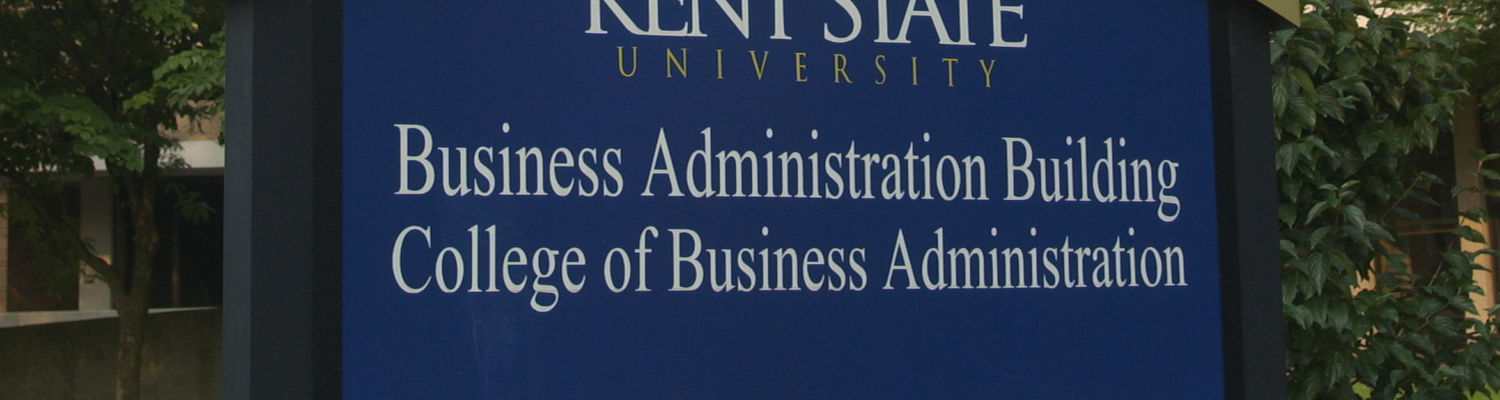 Exterior of the College of Business Administration on the Kent State University campus in Kent, Ohio.