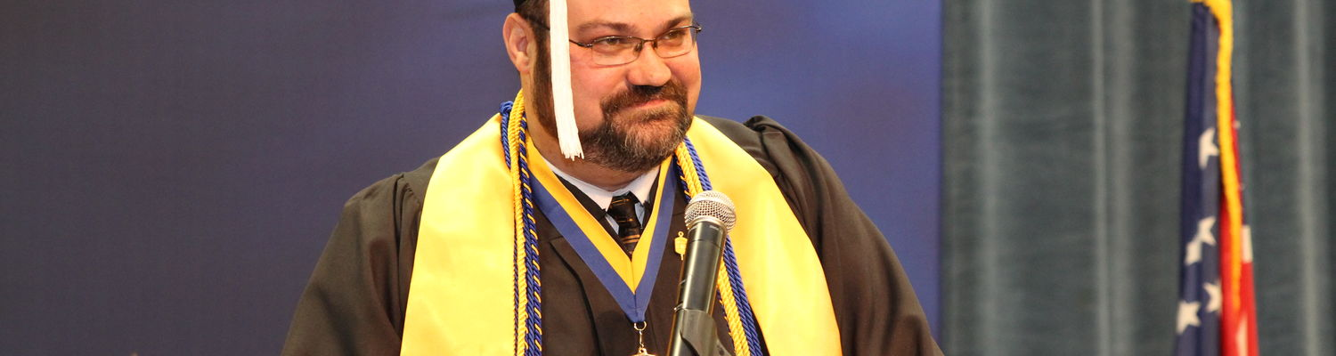 Greg Oliver delivered the student address at the 63rd Commencement Ceremony on Dec. 18, 2015