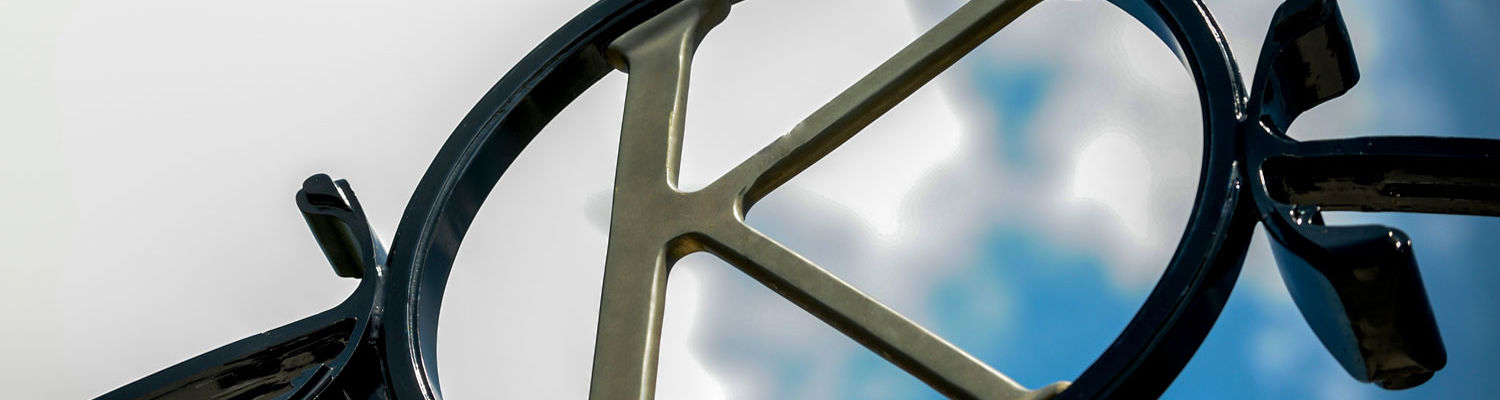 "The ""K"" atop the Prentice Gate on front campus. the gate was donated in honor of May Prentice, the first female professor at Kent State. Her home, which is very near the gate, is now the home of the Wick Poetry Program."