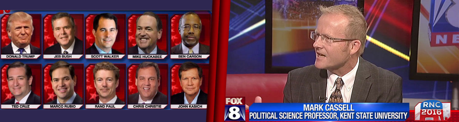 Image of Fox 8 News Studio where Mark Cassell is interviewed on GOP 16 candidates and the 10 candidates