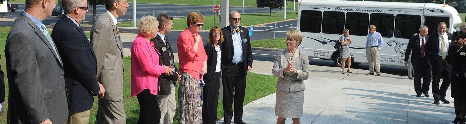 Faculty and staff at Kent State University's Trumbull Campus welcome President Beverly Warren