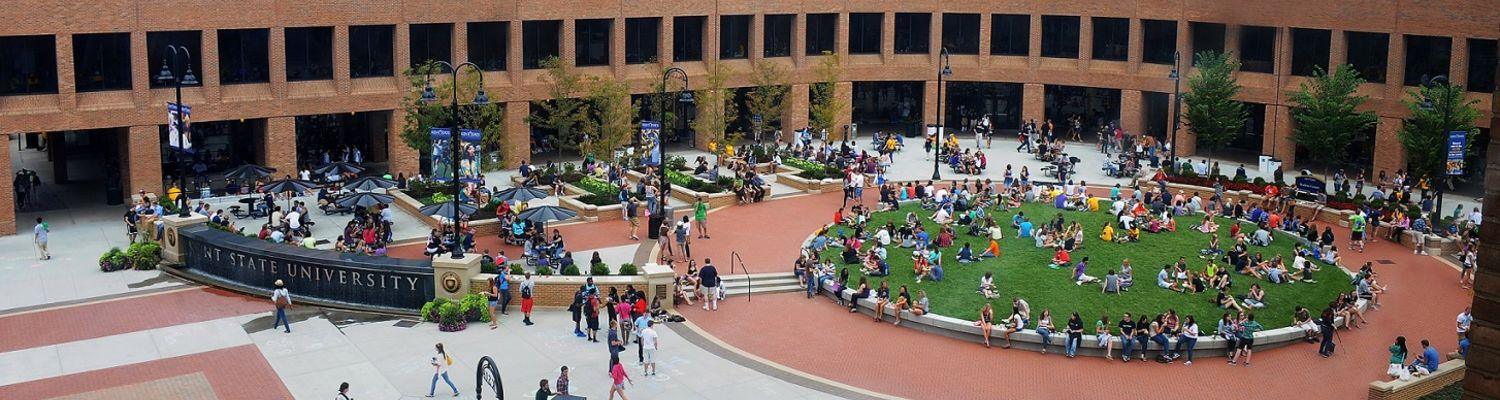 The student green outside the Kent Student Center, bustling with activity