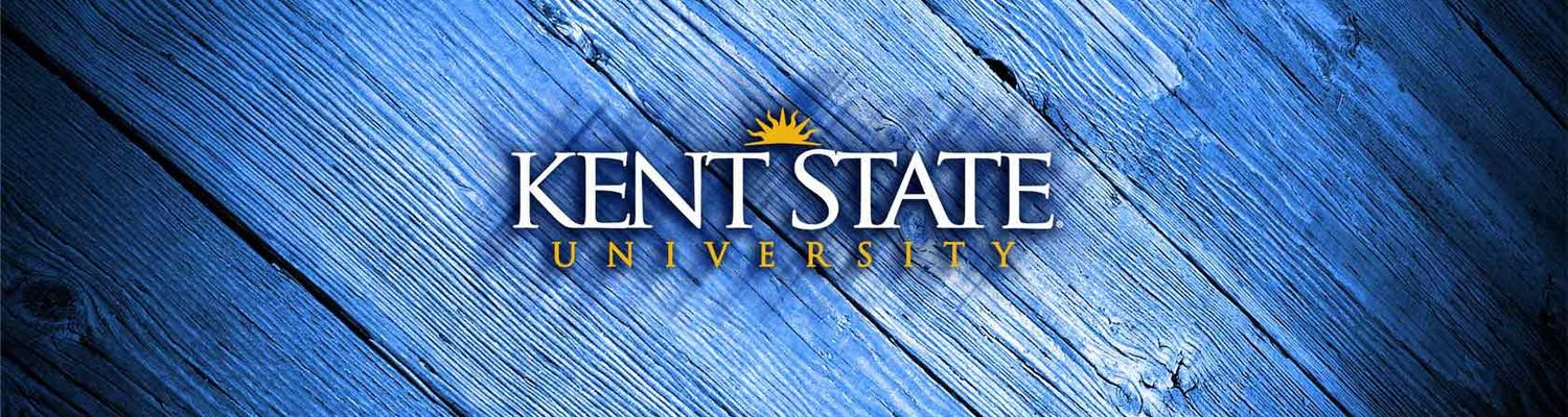 'Kent State University' on a blue overlay of wood