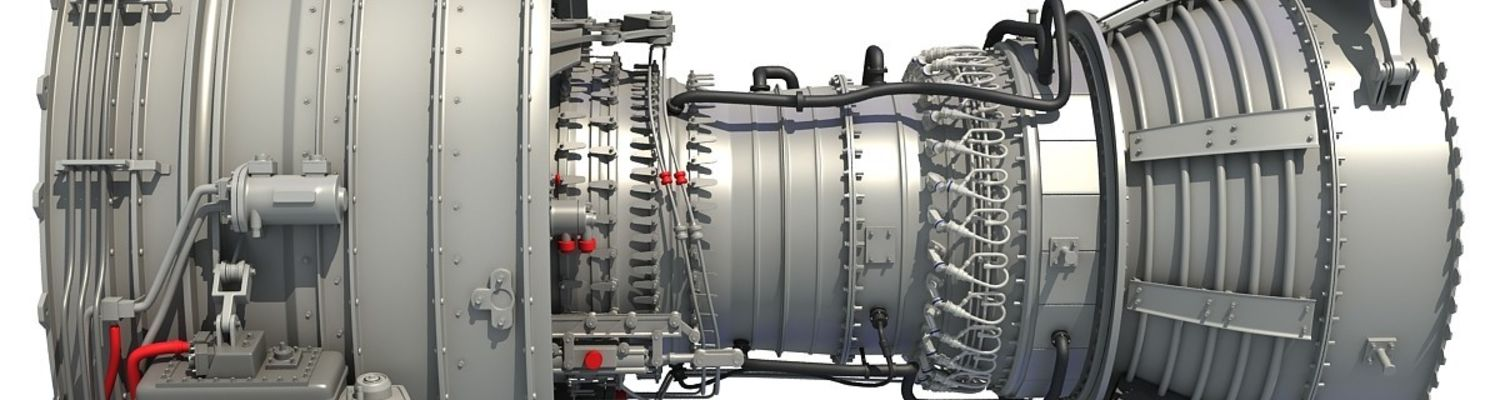 rendered image, skeleton view of a turbofan engine