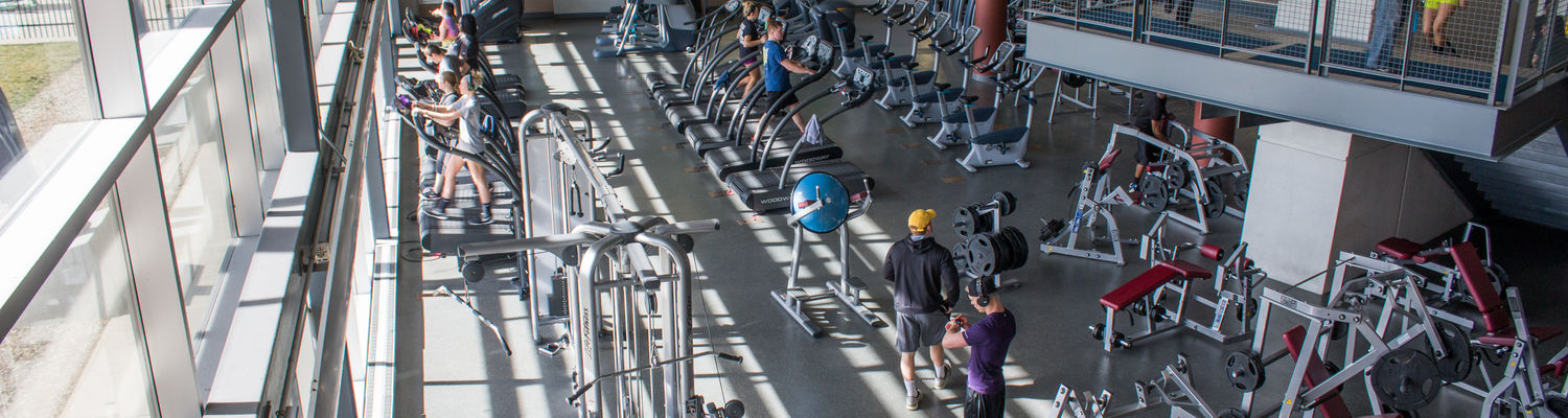View of the cardio area of the Kent State Student Recreation and Wellness Center.