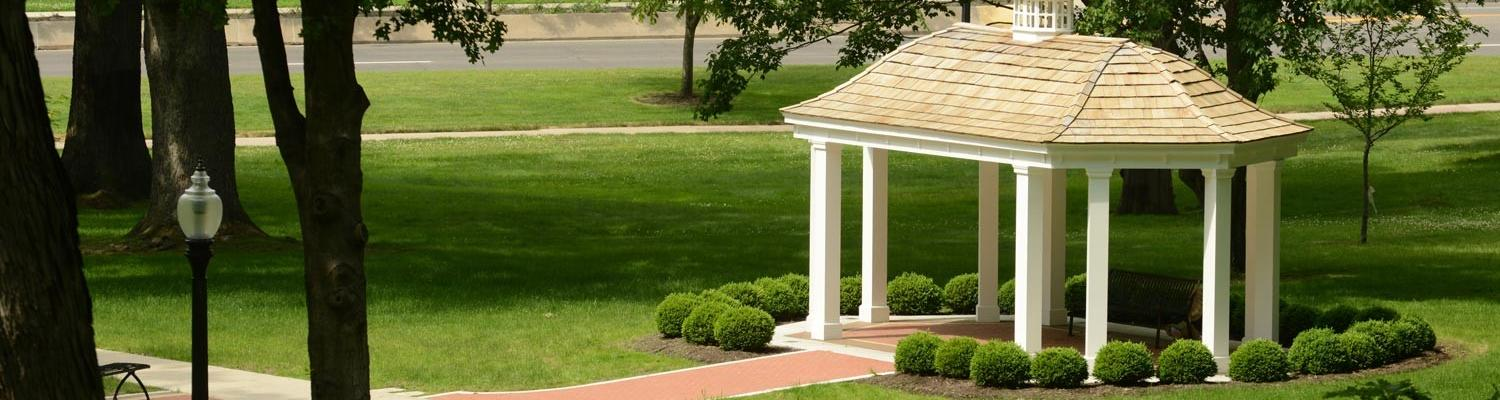 A gazebo sits on the paths criss-crossing Front Campus.